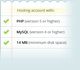 Requirements: PHP, MySQL and 14 MB space